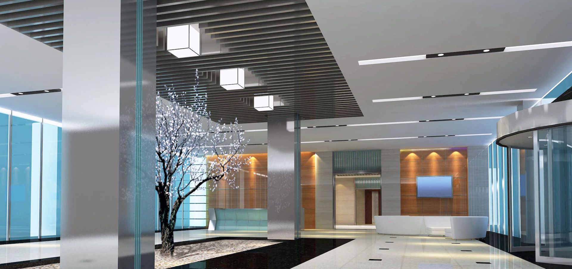 Modern LED Office Hall
